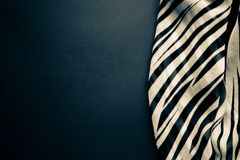 Lekka elegancka przejrzysta benzynowa chusta z czarny i biały lampasami z zebra ornamentu Odgórnego widoku czerni koloru tłem Fotografia Stock