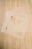Lekka karton rama na drewnianym stole Obraz Stock