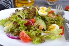 Lekka lato sałatka z świeżymi warzywami, zieleniami, przepiórek jajkami i chickpeas, fotografia royalty free