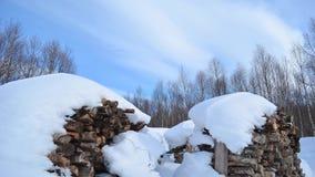 Lekka obłoczna warstwa poruszająca na błękitnym Easter niebie z poruszającymi brzoz drzewami i duży śnieg zakrywać łupek stertami zbiory