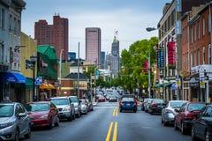 Lekka ulica w Federacyjnym wzgórzu, Baltimore, Maryland Fotografia Stock