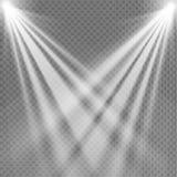 Lekki światło reflektorów biel Szablon dla lekkiego skutka na przejrzystym tle również zwrócić corel ilustracji wektora Obrazy Stock