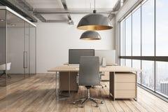 Lekki biurowy wnętrze z miasto widokiem ilustracja wektor
