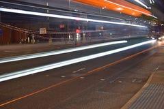 Lekki ślad na pasemku w Liverpool centrum miasta Zdjęcia Stock