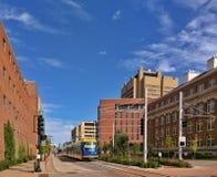 Lekki poręcza pociąg w Minneapolis Minnestoa Fotografia Stock