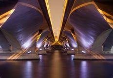 Lekki przedstawienie i cień poniższy esplanada most, Singapur Zdjęcie Royalty Free
