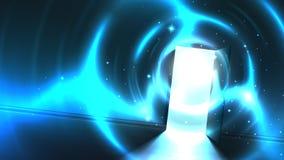 Lekki tunel od otwarte drzwiego ciemny pok?j, abstrakcjonistyczny mistyczny paranormal rozjarzony wyj?cie ko?c?wka wizerunku ?wia ilustracji