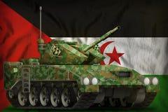 Lekki zbiornik apc z lato kamuflażem na Zachodnim Sahara flagi państowowej tle ilustracja 3 d ilustracji