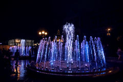Lekkie i Muzyczne fontanny na majdanie Nezalezhnosti w Kijów Obraz Royalty Free