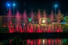 BATUMI, GEORGIA-JULY 7 2015 tanów fontann na Ardagani jeziorze Lekkie i muzykalne fontanny instalować z powrotem w 2009 Fotografia Stock