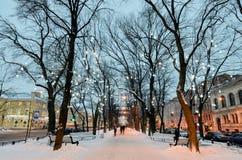 Lekkie iluminacje na drzewach zdjęcie stock