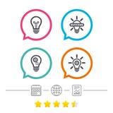 Lekkie lampowe ikony Energooszczędni symbole Obraz Stock