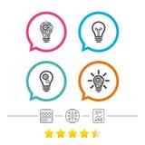 Lekkie lampowe ikony Energooszczędni symbole Obrazy Stock