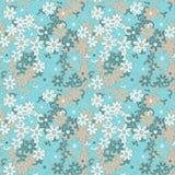 Lekkiego kwiecistego chamomile retro rocznika bezszwowy wzór royalty ilustracja