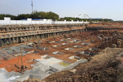 Lekmanna- fundament för konstruktionsplats Arkivbilder