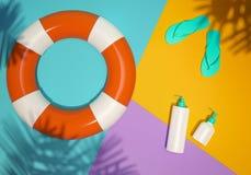 Lekmanna- illustration för ljus sommarstrandlägenhet stock illustrationer