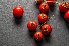 Lekmanna- lägenhet, bästa sikt Röda doftande körsbärsröda tomater på frostad svart bakgrund kopiera avstånd royaltyfri fotografi