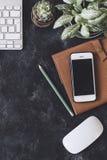 Lekmanna- lägenhet Mörk tabell för kontor med datornotepaden, mus, penna, p Royaltyfria Bilder