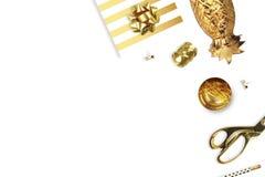 Lekmanna- lägenhet Vit bakgrundsmodell kvinna för tillbehörsamlingshandväskor Guld- ananas, guld- häftapparat, blyertspenna Royaltyfria Foton