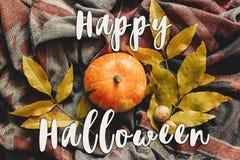 Lekmanna- lycklig lägenhet för halloween texttecken höstpumpa med färgrikt Arkivbild