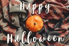 Lekmanna- lycklig lägenhet för halloween texttecken höstpumpa på stilfullt H Arkivfoton