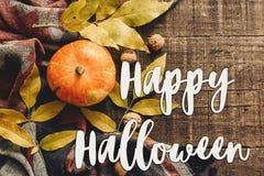 Lekmanna- lycklig lägenhet för halloween texttecken pumpa med sidor och wal Royaltyfri Bild
