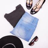 Lekmanna- modecollage för lägenhet Arkivfoto