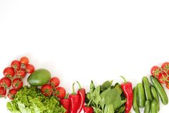 Lekmanna- sammansättning för härlig lägenhet med olika sorter av det blandade ny frukt-, grönsak- och örtsortimentet på den vita  arkivfoton