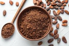 Lekmanna- sammansättning för lägenhet med kakaopulver och bönor Royaltyfria Foton