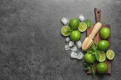 Lekmanna- sammansättning för lägenhet med mogna limefrukter, iskuber Arkivfoton
