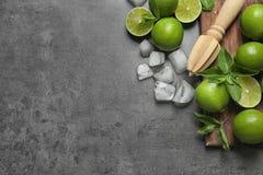 Lekmanna- sammansättning för lägenhet med mogna limefrukter, iskuber Royaltyfria Bilder