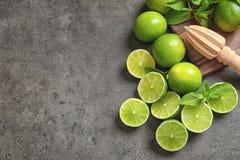 Lekmanna- sammansättning för lägenhet med mogna limefrukter, mintkaramellen och juiceren Fotografering för Bildbyråer