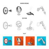 Lekpilar, reflexion I och annan rengöringsduksymbol i lägenheten, översikt, monokrom stil Cigarr klämmasymboler i uppsättningsaml stock illustrationer