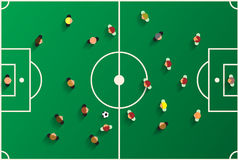 Lekplats för bästa sikt för fotboll med spelare Royaltyfri Fotografi
