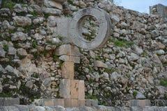 Lekplats för bollspel i den forntida Mayan platsen Uxmal, Yucatan Pe Royaltyfri Bild