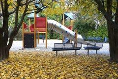 Lekplats i höstsäsongen Tyskland Fotografering för Bildbyråer