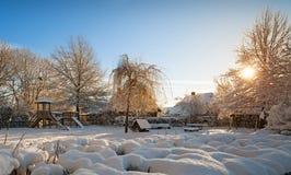 Lekplats i vinter Royaltyfri Foto