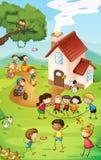 Lekplats med ungar Arkivbild