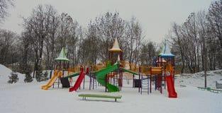 Lekplats på vintern Arkivfoto