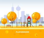 Lekplatsen för barn` s i de offentliga city'sna parkerar också vektor för coreldrawillustration stads- futuristic plats stock illustrationer