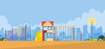 Lekplatsen för barn tömmer utomhus- royaltyfri illustrationer