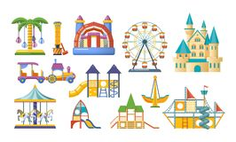 Lekplatsen för underhållning för barn` s, rekreation parkerar Förlägga för lekar för barn` s vektor illustrationer