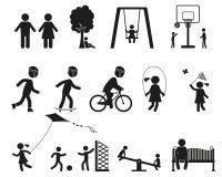 Lekplatsen och barn svärtar den enkla symbolsuppsättningen vektor illustrationer