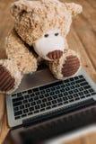 Leksak och bärbar dator för nallebjörn Fotografering för Bildbyråer