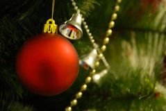 Leksak på julgranen Royaltyfri Fotografi