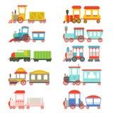 Leksakdrev ställde in, färgrika lokomotiv och vagnvektorillustrationer stock illustrationer