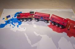 Leksakdrevförbindande Europa och Kina Yidaiyilu projekt royaltyfri fotografi