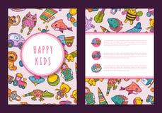 Leksaker för barn för vektorkortmall hand drog på bakgrund royaltyfri illustrationer