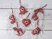 Leksaker för handgjorda garneringar för jul mjuka Arkivbilder