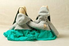 Leksaker kaniner, kaniner, easter som är handgjord Arkivbild